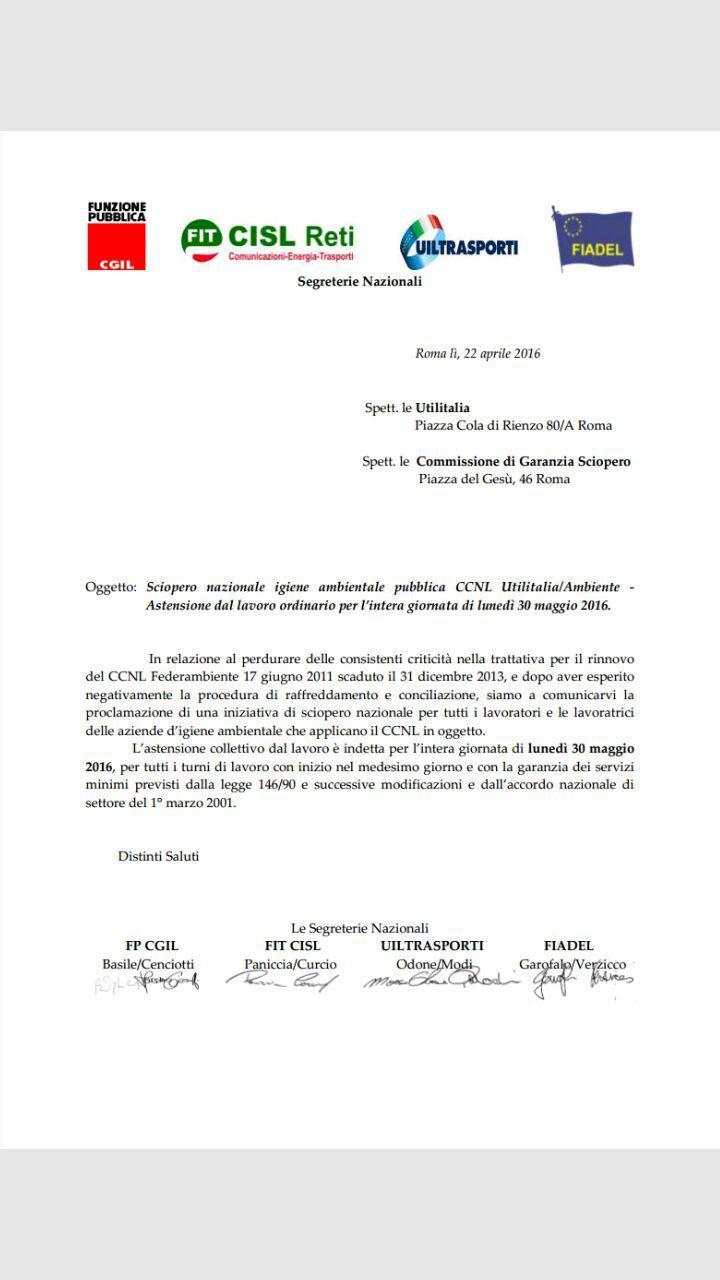 Comunicato Unitario SCIOPERO Nazionale 30 mag 2016