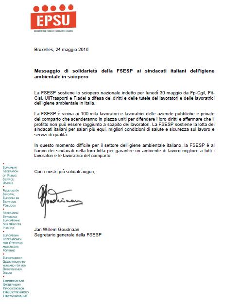 10 Messaggio di solidarietà della FSESP - Sciopero 30.05.2016