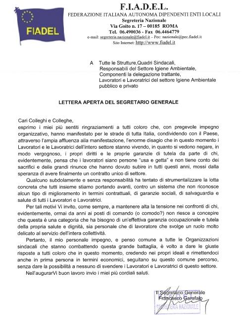 11 lettera aperta del Segretario Generale