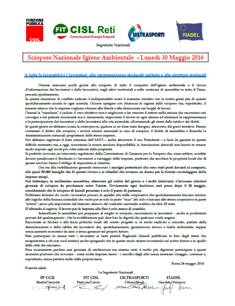 9 Comunicato_Segreterie_Nazionali_24_maggio_2016