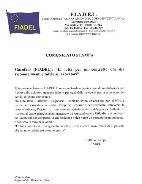 Comunicato stampa Segr. Gen.le FIADEL Francesco Garofalo