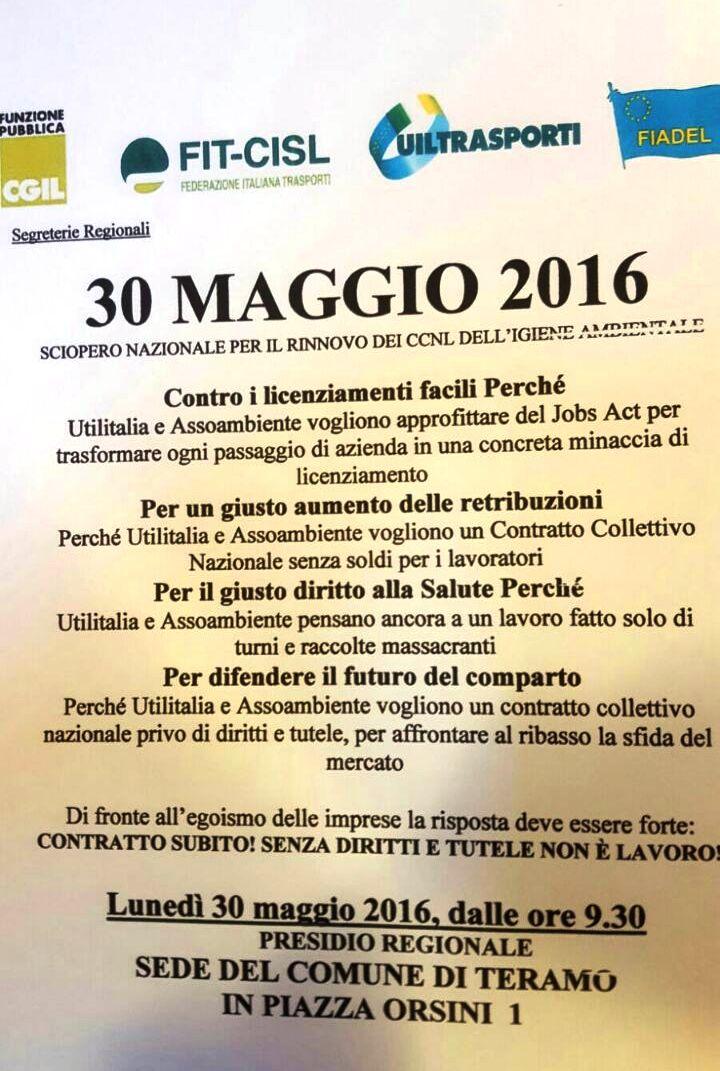 Volantino Presidio 30 maggio 2016 Abruzzo