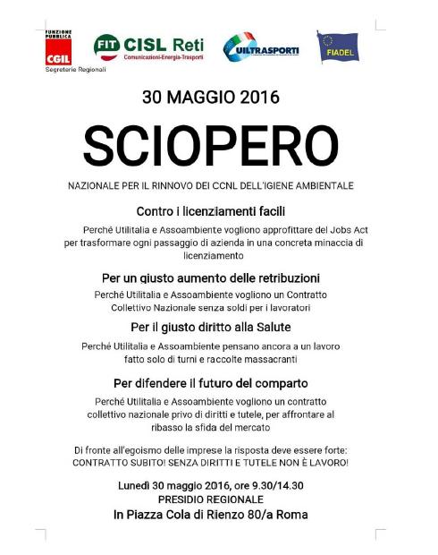 Volantino Presidio 30 maggio 2016 Lazio