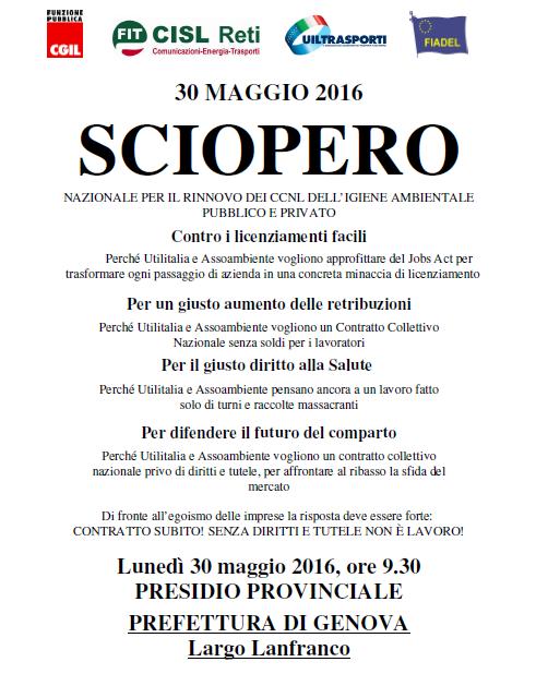 Volantino Presidio siopero 30 maggio Liguria