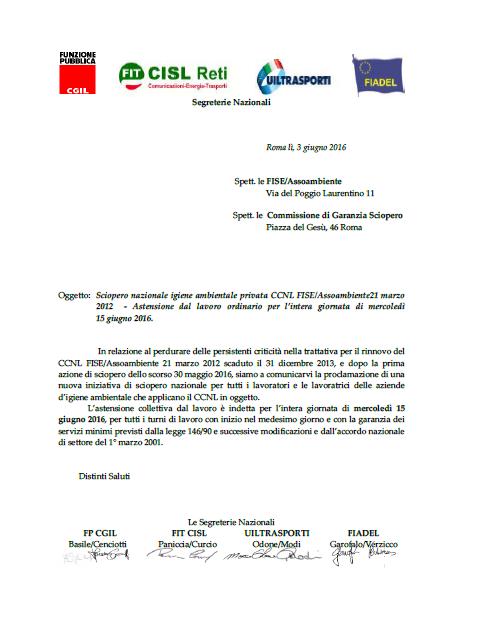 13 proclamazione Sciopero 15 giugno 2016 - settore privato Fiseassoambiente