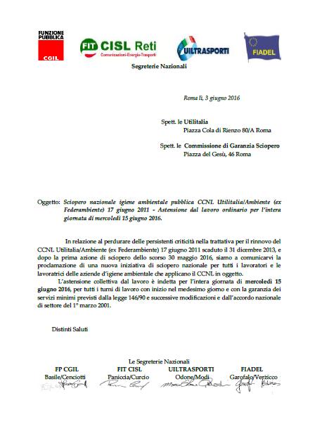 13 proclamazione Sciopero 15 giugno 2016 - settore pubblico Utilitalia