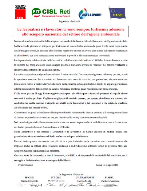 19 Comunicato_Segreterie_Nazionali_16_giugno_2016_-_ringraziamenti_sciopero