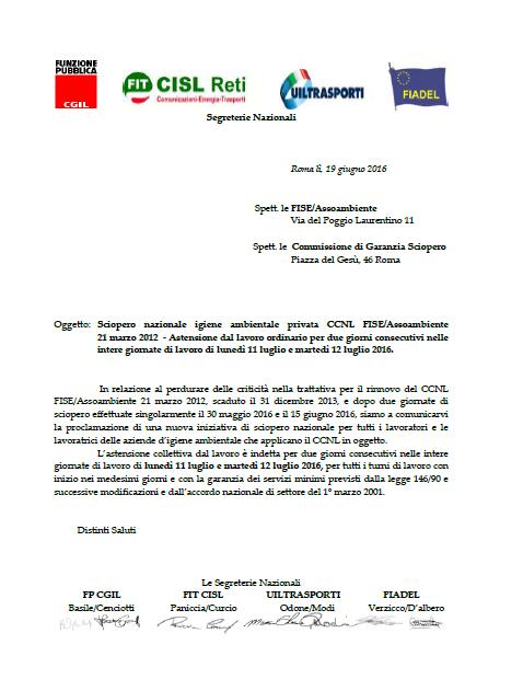 22 Dichiarazione sciopero nazionale CCNL FISE Assoambiente 11 e 12 luglio 2016
