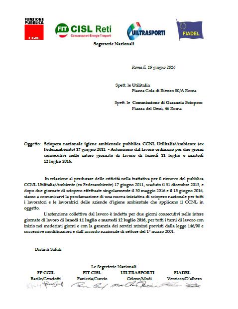 22  Dichiarazione sciopero nazionale CCNL Utilitalia 11 e 12 luglio 2016