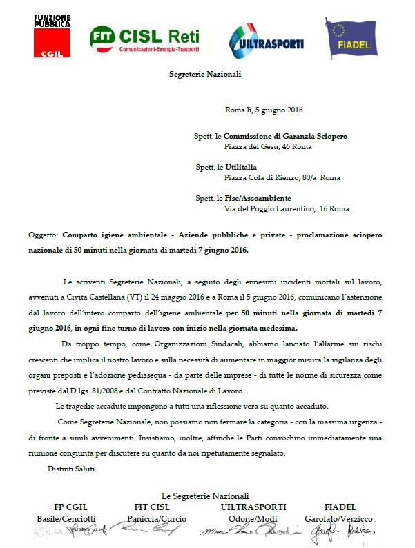 Comparto igiene ambientale - Aziende pubbliche e private - proclamazione sciopero